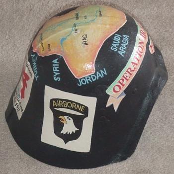Trench Art Painted Iraqi Fedayeen Helmet (OIF)