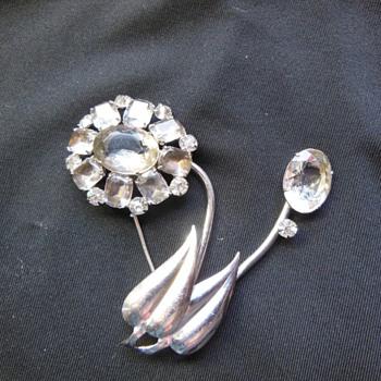 Unusual Flower Smoke Rhinestone Brooch - Costume Jewelry