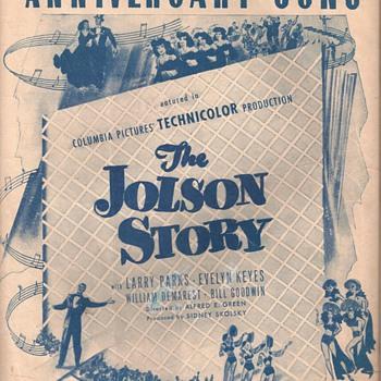 """ANNIVERSARY SONG """" THE JOLSON STORY"""" - Music Memorabilia"""