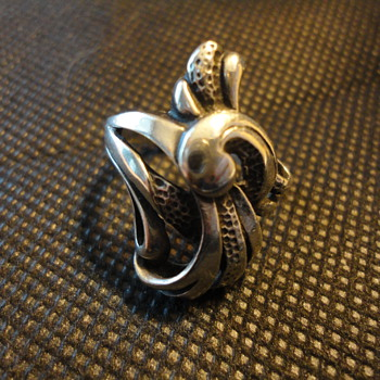 Big Sculptural American Arts & Crafts Sterling Silver Ring c. 1910 - Fine Jewelry