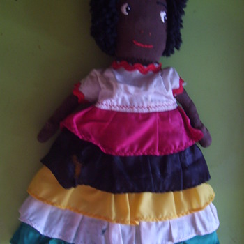 VINTAGE RAG DOLL, BLACK  HANDMADE AND WELL LOVED. 1930s-40s - Dolls
