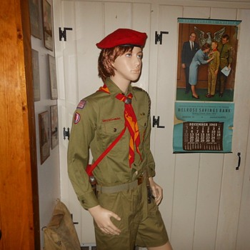 Mid 1970s Boy Scout Uniform Shirt With Post 1972 Badges and Beret - Medals Pins and Badges