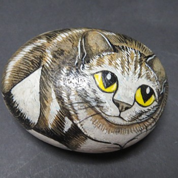 Painted Pebble - Cat - Animals