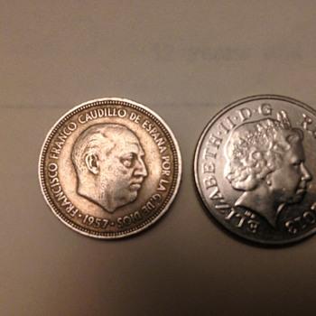 spain 5 ptas 1957 - World Coins