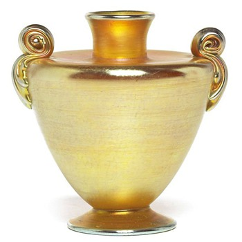 L. C. Tiffany Gold Urn Vase - Art Glass
