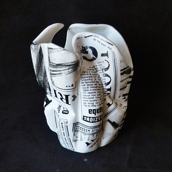 "Dated 1957 Italy ""Crumpled Newspaper"" Ceramic Vase - Mid-Century Modern"