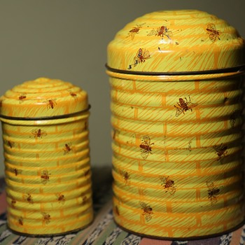 Two Old Tins - Honeycomb and Bees