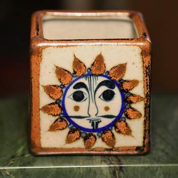 small little talavera [?] cube box with mr. sun - Mexican? Italian? - Pottery