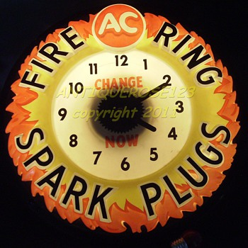 1940 ish --- Advertising Clock - AC DELCO SPARK PLUG CLOCK  - Clocks