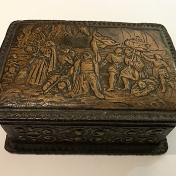 Leather and wood cigarette box