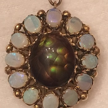 Opal & Fire Agate Gold Pendant  - Fine Jewelry