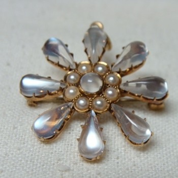 Edwardian Moonstone and Seed Pearl Pendant  - Fine Jewelry