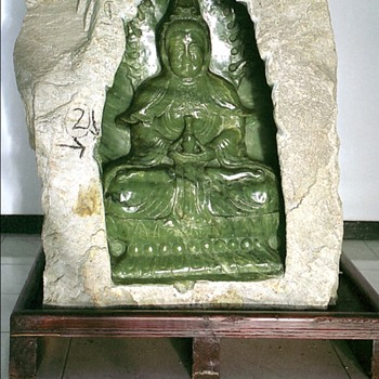 CARVED KWAN IM STATUE