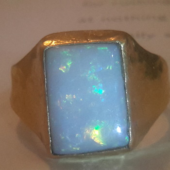 Turkish Byzantine style hand crafted 24ct gold & crystal opal ring