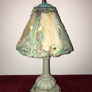 "Pat'd. 1907 Miller Lamps"" (Painted) Slag Glass Lamp - Lamps"