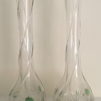 Twisted Edwardian vases with star cut flowers
