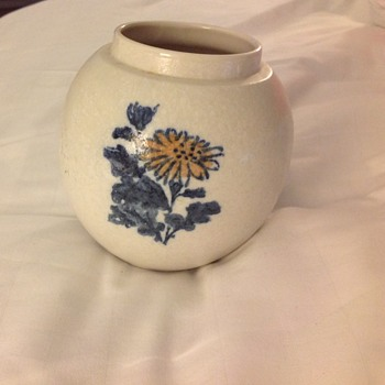This vintage Japanese vase?, looks like it was painted with water color just caugh my eye today!
