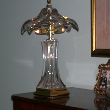 """Glass and Brass Boudoir Lamp 19"""" - Lamps"""