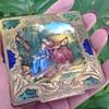 Italian vintage silver gilded enamel compact
