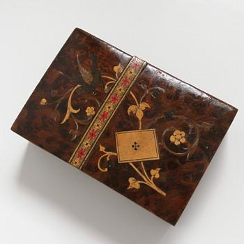 Wood inlay playing cards box