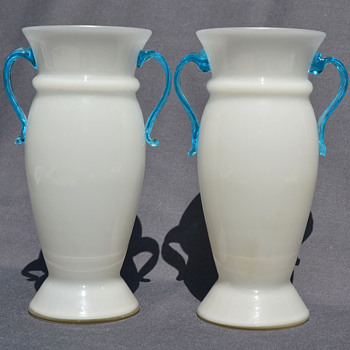 KRALIK - pair of leaf- handled vases - Art Glass