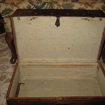 Interior Of Leather Stagecoach Trunk