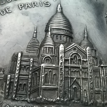"""Very Addams Family"" 1880s/1890s Metal Paris Souvenir Tray."