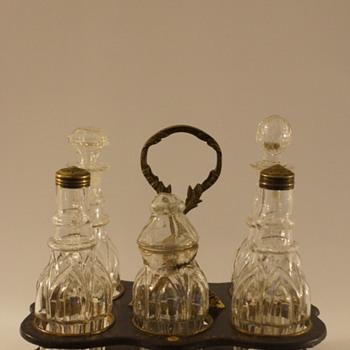 Worst quality but still a lovely Cruet Set - Art Glass