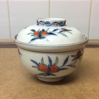 Help please, Chinese peach decorated rice bowl and matching lid - Asian