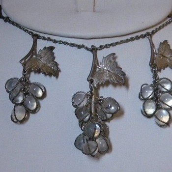 Antique Victorian Grape Moonstone lavaliere Silver Necklace Drop - Fine Jewelry