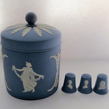 Wedgwood Jasperware Dancing Hours Jar, and Thimbles - China and Dinnerware