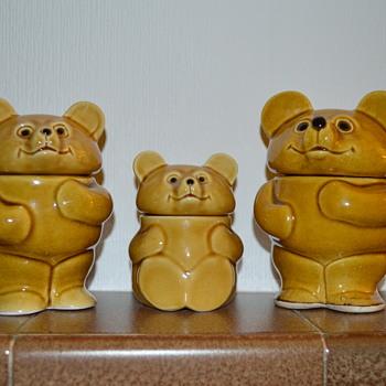 Teddy bear family - pottery jars - Kitchen