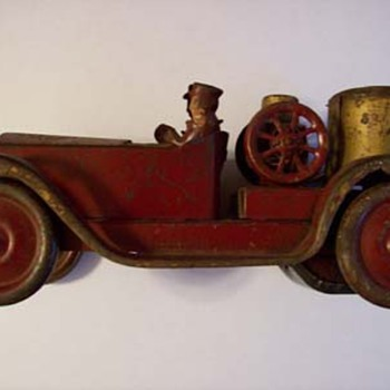 Old Tin Metal Red Car Fire Truck - Firefighting