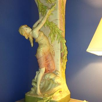 """Art Nouveau-style maidens, 29"""" Floor Vases by Dux"""