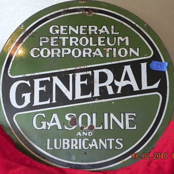 Old General Petroleum 30 inch 2 sided sign - Petroliana