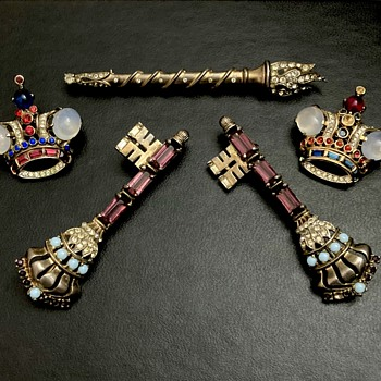 Trifari Crowns and Sceptre - Costume Jewelry