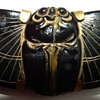 BLACK STONE BRASS BACK ART DECO SCARAB BROOCH