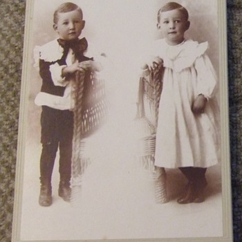 Double exposure cabinet card of boy in DRESS and Pants! - Photographs