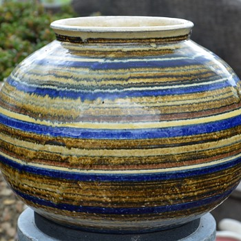 Unsigned Pottery Bulbous Vase - Pottery