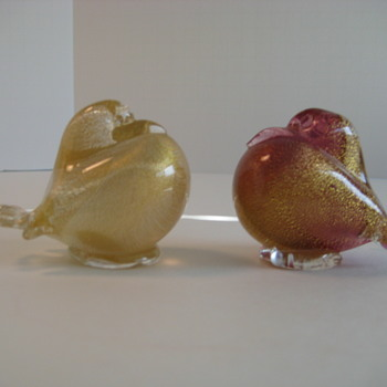 Pair of 1950's  Archimede Seguso pouter pigeons - Art Glass