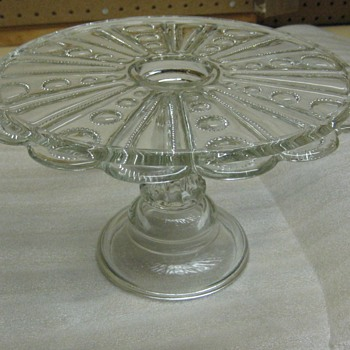 ANTIQUE  PEDESTAL  CAKE SALVER - Glassware