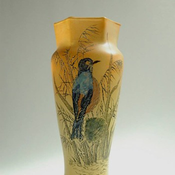 french art nouveau  enamel glass vase by FRANCOIS THÉODORE LEGRAS (1839-1916) - Art Nouveau