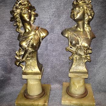 French Art Nouveau statues.  Joan d'Arc & Genevieve - Figurines