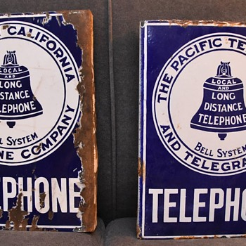Pair of '08 pattern California TELEPHONE signs - Telephones