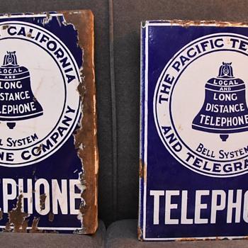 Pair of '08 pattern California TELEPHONE signs - Telephones