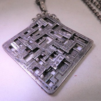 MID CENTURY BRUTALIST MODERIST SILVER PENDANT,C1960,UNUSUAL MAKERS MARK - Fine Jewelry