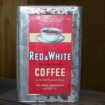 Red & White 20 lb. Coffee Tin