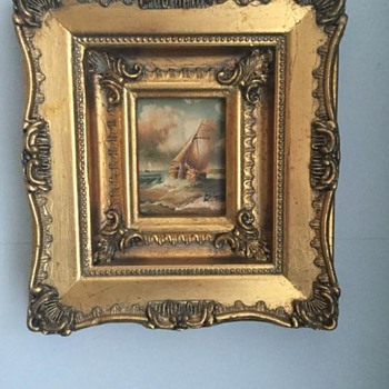 2 Miniature Paintings Signed:  1-R.T & 2: J.W
