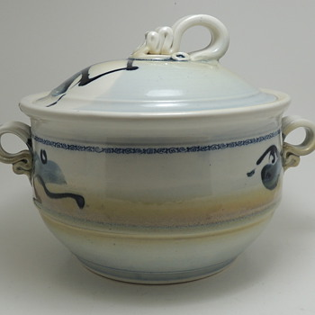 Modern Glazed Crock with Lid and Interesting Handles - Anyone Recognize the Signature? - Pottery