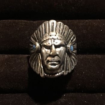 Antique Indian Chief Silver Ring  - Fine Jewelry